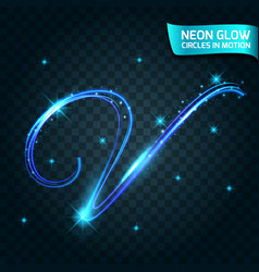 Neon glow line in motion blurred edges vector