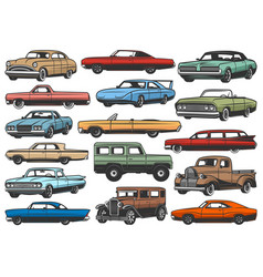 Old retro cars vehicles vector