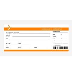 Orange boarding pass vector