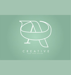 outline ac a c letters logo design with green vector image