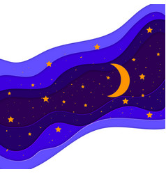 paper art moon and stars in midnight vector image