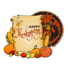 paper scroll with happy thanksgiving text cartoon vector image