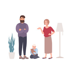 parents quarreling or fighting in presence of vector image