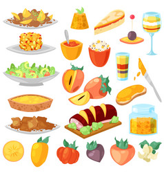 persimmon fresh fruity food dessert and vector image