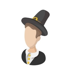 Pilgrim man cartoon icon vector image