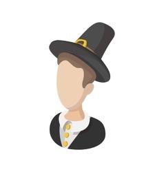 Pilgrim man cartoon icon vector image