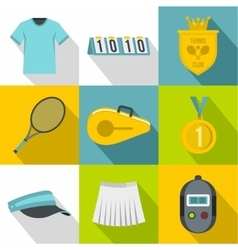 Play in tennis icons set flat style vector image