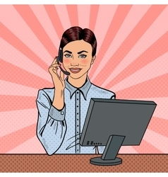 Pop Art Woman Operator Consulting Client vector image