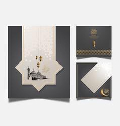 Ramadan design set with realistic golden crescent vector
