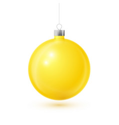 realistic yellow christmas ball with silver ribbon vector image
