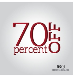 Red 70 sale Price off icon with 70 percent vector