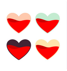 red pinkturquoiseyellow and black hearts vector image