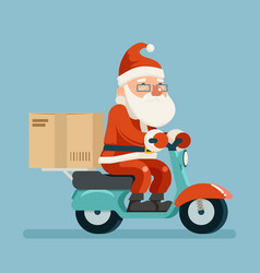 santa claus delivery courier scooter symbol box vector image
