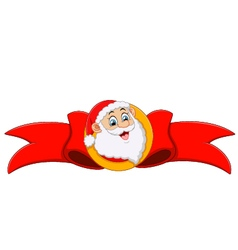 Santa head and red ribbon vector