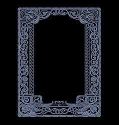 Scandinavian viking design frame in ancient vector