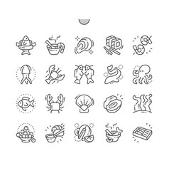 seafood well-crafted pixel perfect thin vector image