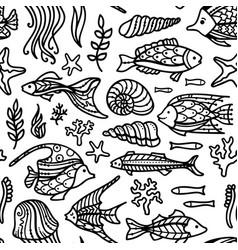 seamless doodles underwater ocean pattern vector image