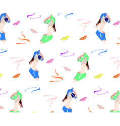 seamless pattern of colorful shoes and lips vector image