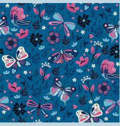 seamless pattern with pink and blue butterflies vector image