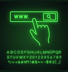 Search bar button neon light icon vector