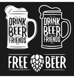 Set beer typography vintage prints quotes vector