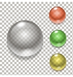 set colorful balls glass sphere vector image