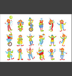 set colorful friendly clowns in classic outfits vector image