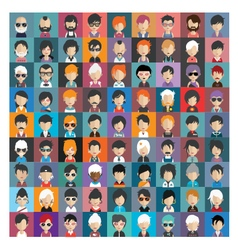 Set of people icons in flat style with faces 17 b vector