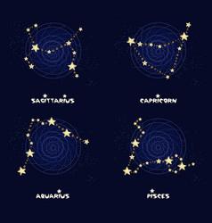Set of zodiac constellations sagittarius vector