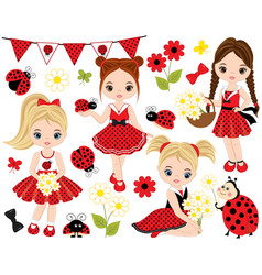 Set with little girls ladybugs and flowers vector