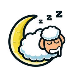 Sheep sleep mascot design vector