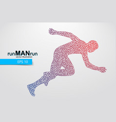 Silhouette a running man from triangle vector