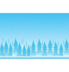 Silhouettes of trees on a snowy blue background vector