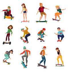 Skateboarders characters set vector