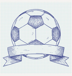 soccer ball with banner hand drawn sketch vector image