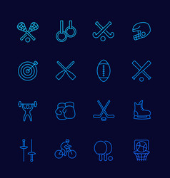 sports thin line icons set vector image