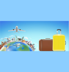 suitcase with world travel landmark and airplane vector image