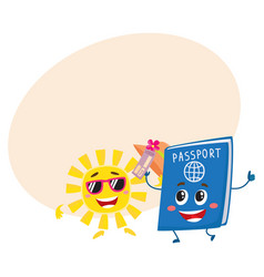 Sun and passport characters holiday summer vector