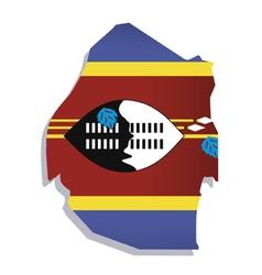 Swaziland africa map flag vector
