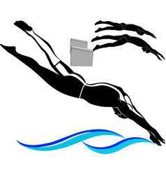 swimming logo swimmers athletes isolated on white vector image