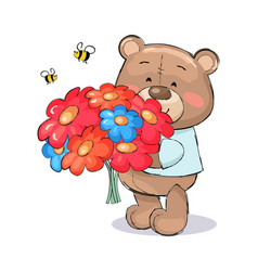 Teddy bear with bouquet colorful flowers cartoon vector