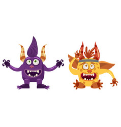 Troll bigfoot and imp cute funny fairytale vector