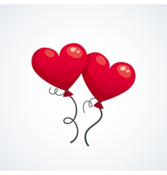Two red heart ballons icon isolated on white vector image