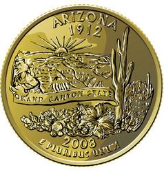 Usa money washington quarter 25 cent coin arizona vector