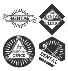 Vintage dental emblems vector image