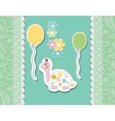 Vintage doodle baby tortoise vector image vector image