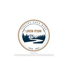 vintage retro river creek mountain pine cedar vector image