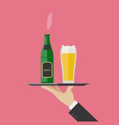 Waiter brings beer vector