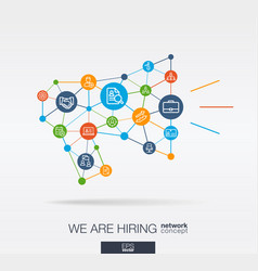 we are hiring job search integrated thin line vector image
