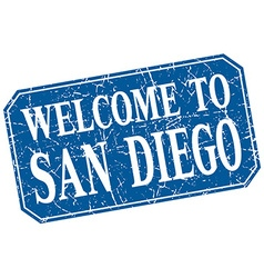Welcome to San Diego blue square grunge stamp vector